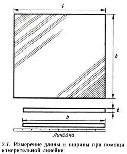 Измерение длины и ширины линейкой