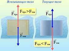 Условия плавания тел. Архимедова сила