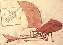 Эскиз дельтаплана Леонардо да Винчи